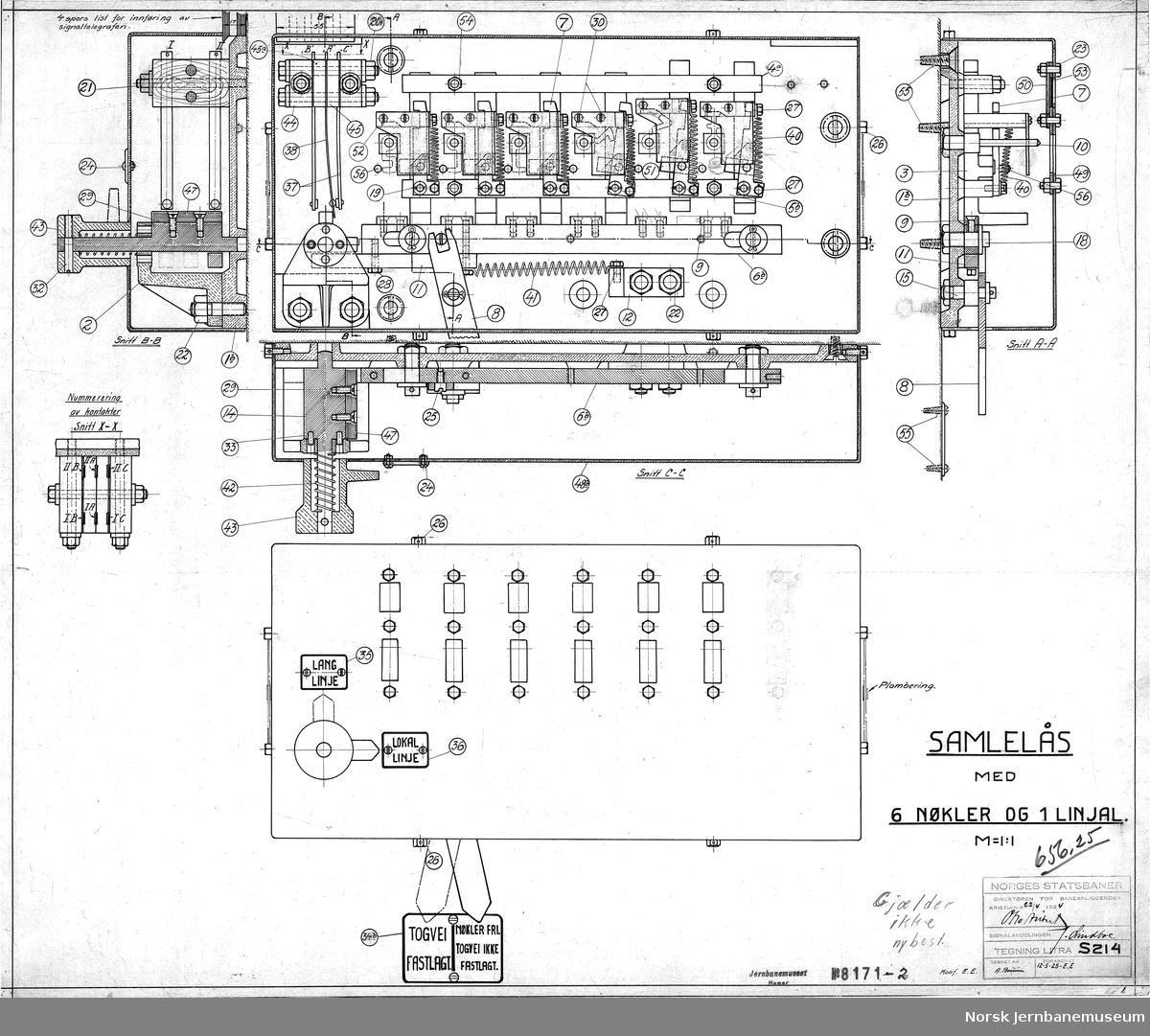 NSB Direktøren for baneanliggender, Signalavd. Samlelås med 6 nøkler og 1 linjal