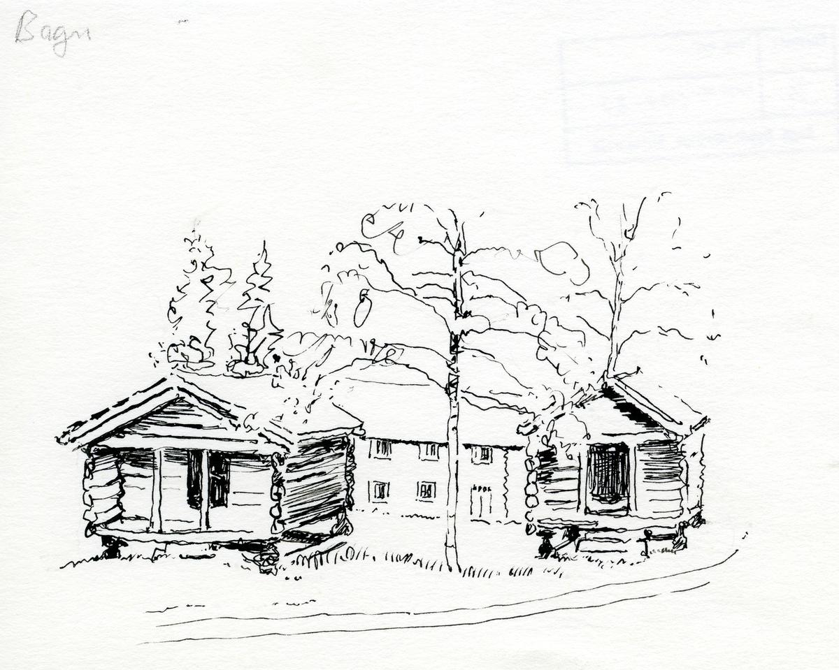 Bagn Bygdesamling, Sør-Aurdal. Tegning av stabburene og Stabelbygningen, etter foto.