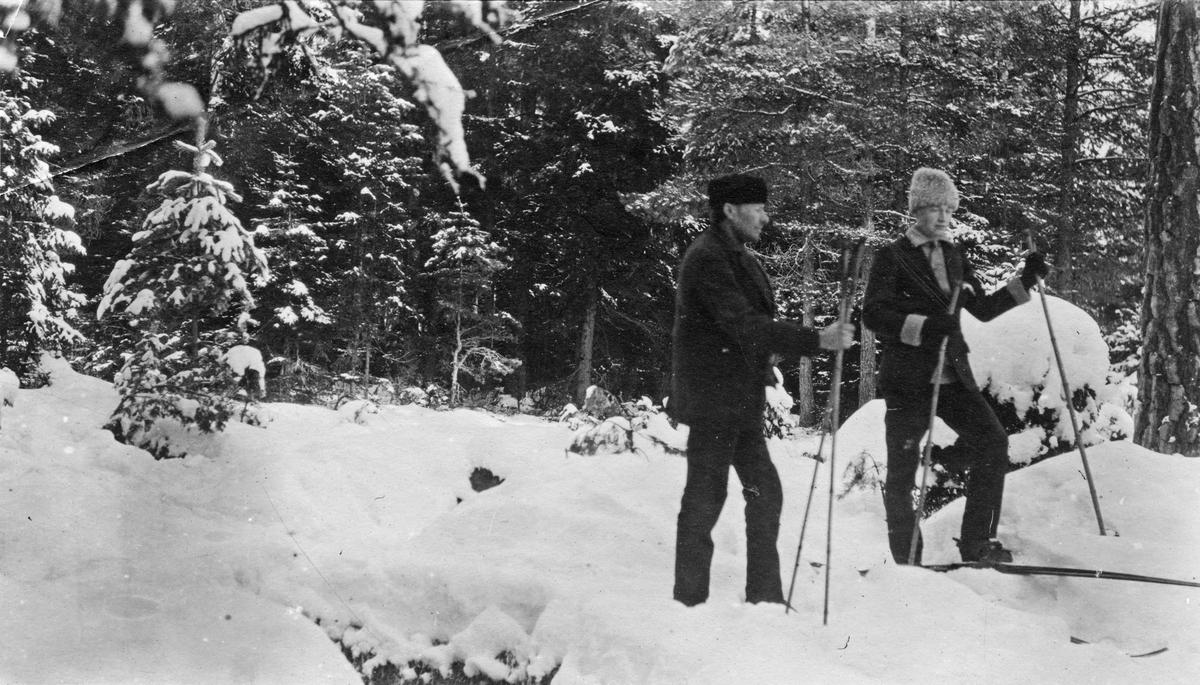 P.F. Dandernell och Pihlblad på skidor, 1919.