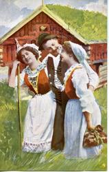 Postkort  to kvinner og en mann i festdrakter.