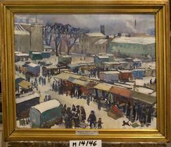 Marknad i Växjö 1940 [Oljemålning]