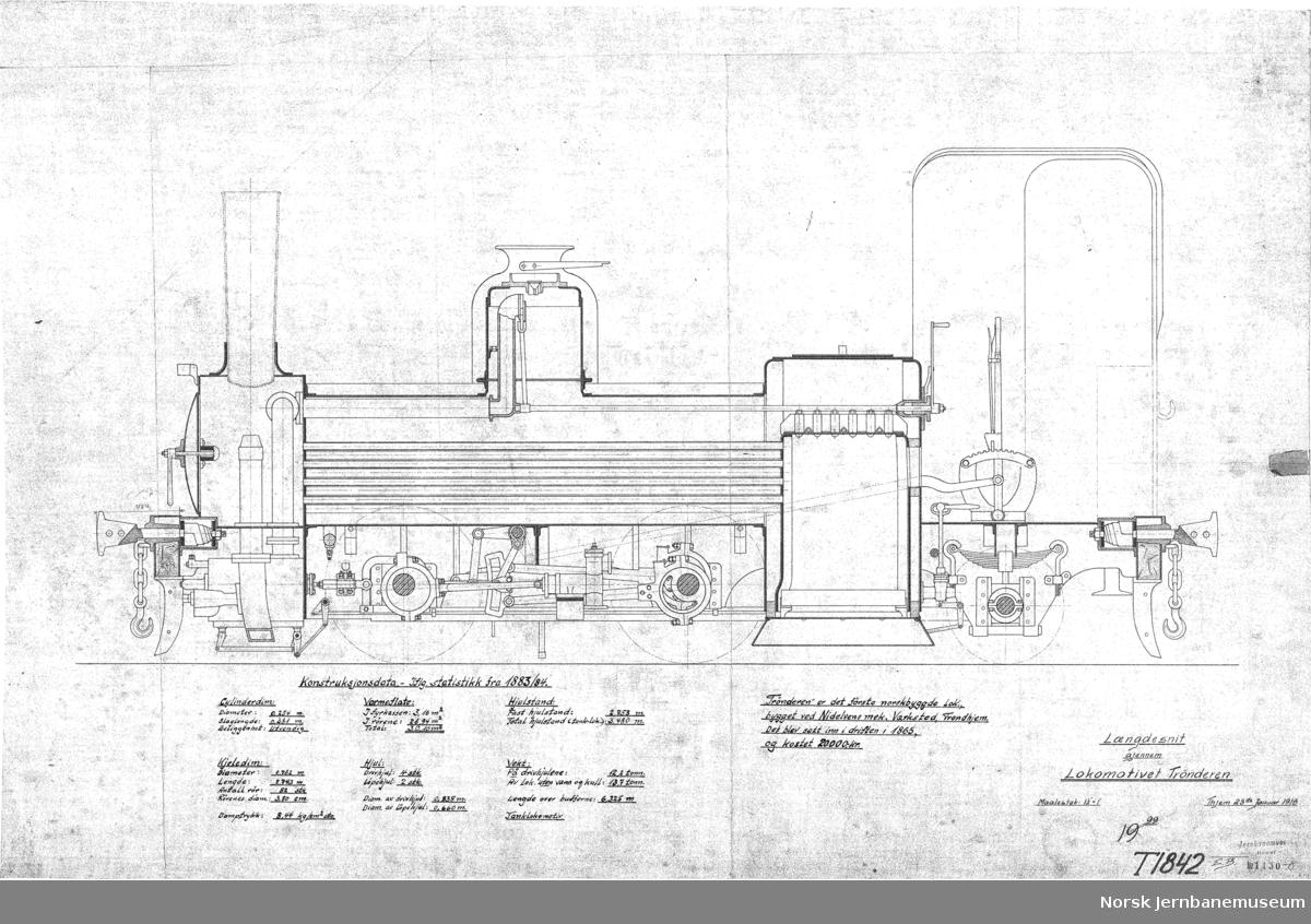 """Rekonstruert hovedtegning av lokomotivet """"Trønderen"""" etter oppmåling i 1913 1130-7 T1858 Utvendig utseende, side og front 1130-8 T1842 Snitt på langs 1130-9 T1858 og 1842 sammensatt"""