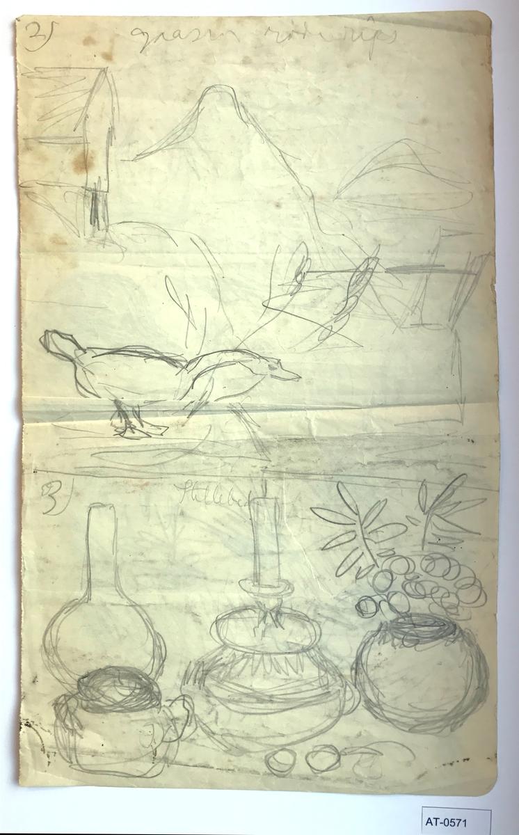 """Tosidig skisse på stort ark frå skissebok, med fire nummererte motiv.  Side 1:  2) """"gaasen röde rips"""" 3) """"Stilleben"""" Side 2:  4) Vase med planter og noe rundt på et bord? 5) Sanddalstrand sett mot Grotten og Orkja. Kjøkenstova og gamlestova til venstre i bildet. Hovudhuset er ikkje bygd. Snødronninga i bakgrunnen."""