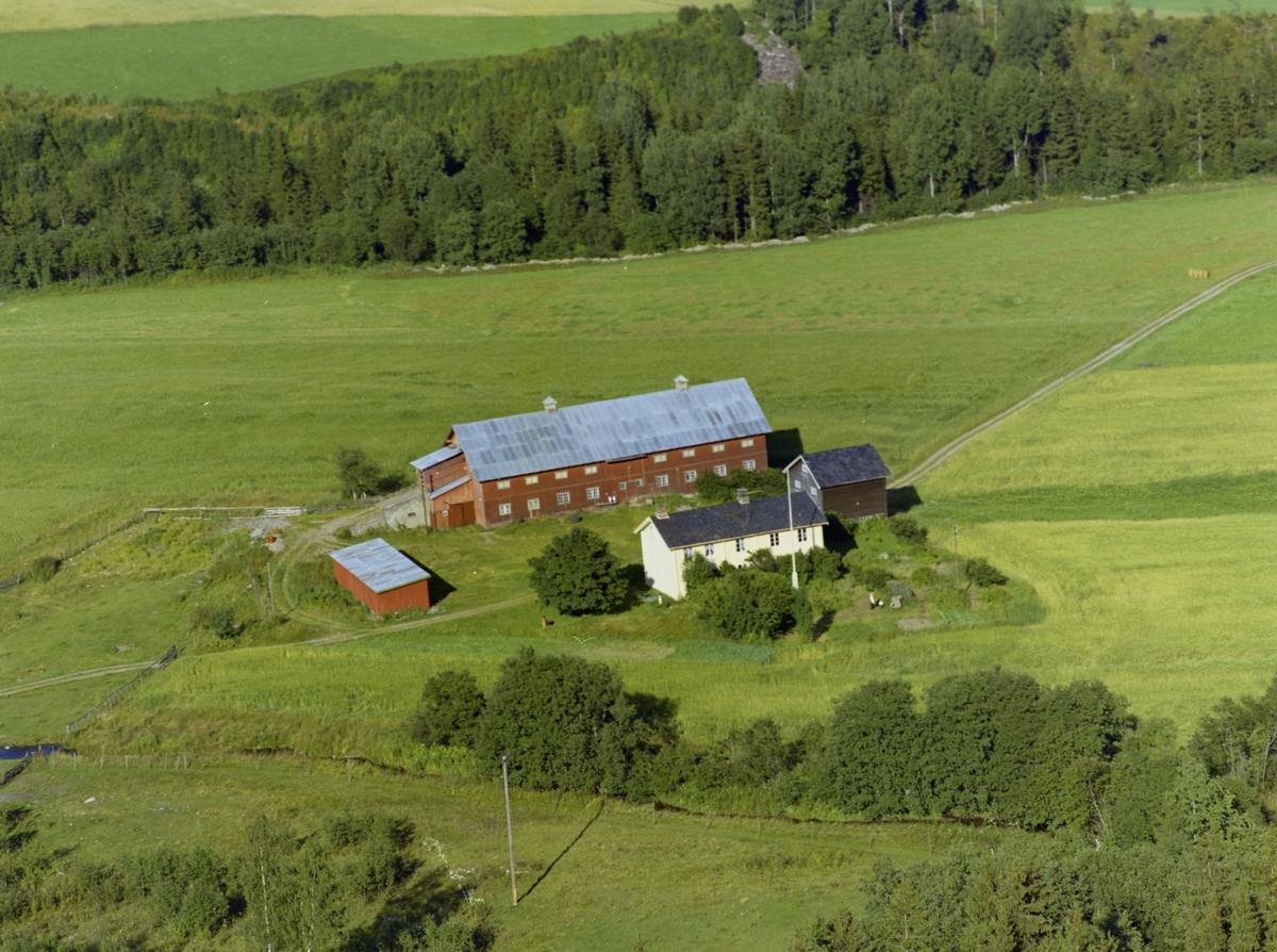 Gårdsbruk. Kveine, nordre, Østre Gausdal. Stor rødmalt driftsbygning, stabbur og rødt uthus. Stort, hvitt våningshus med flaggstang og hage foran. Dyrket mark rundt, skog i randsonen.