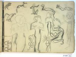 Stiliserte skisser av dyr, fugl og ei egyptisk kvinne [Tegni