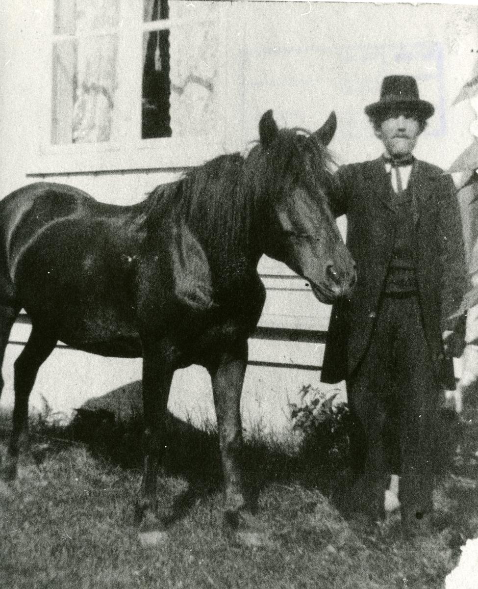 Thomas Barth med hesten Prestegardssvarten. Tatt ca 1915.