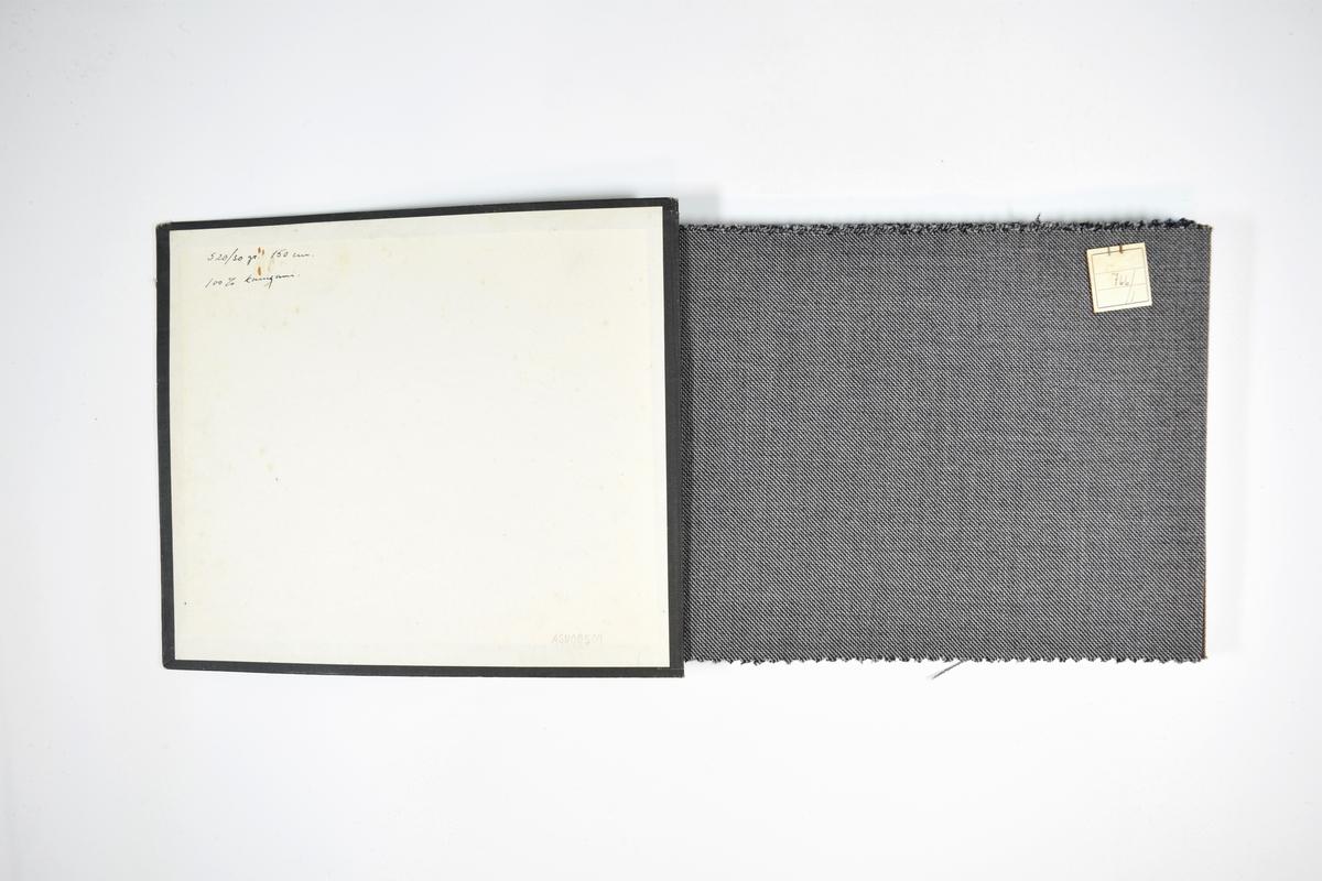 Prøvebok med 8 stoffprøver. Middels tykke to-trefargede stoff med tynne skrå striper eller lignende. Stoffene ligger brettet dobbelt i boken slik at vranga dekkes. Stoffene er merket med en firkantet papirlapp, festet til stoffet med metallstifter, hvor nummer på påført for hånd.   Stoff nr.: 766/1, 766/3, 766/5, 766/27, 766/28, 766/29, 766/35, 766/38.
