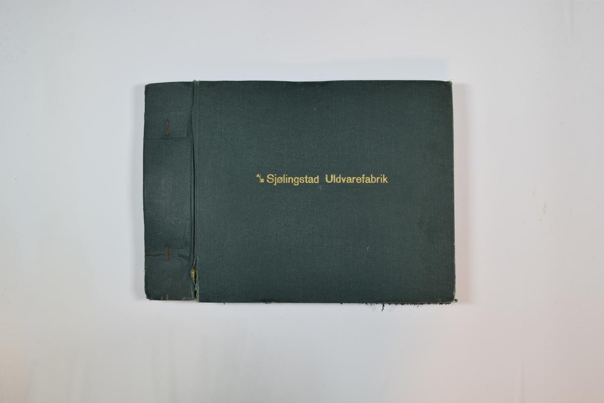 Rektangulær prøvebok med 8 stoffprøver. Middels tykke stoff med ruter eller striper. Toskaftsvev. Prøvene ligger brettet dobbelt i boken slik at vranga dekkes. To av stoffene er merket med en rund papirlapp, festet til stoffet med metallstifter, hvor nummer er påført for hånd. De resterende stoffene mangler lapp og nummer.   Stoff nr.: 1106 (stoff nummer 4 i boken), 1109 (stoff nummer 7 i boken).