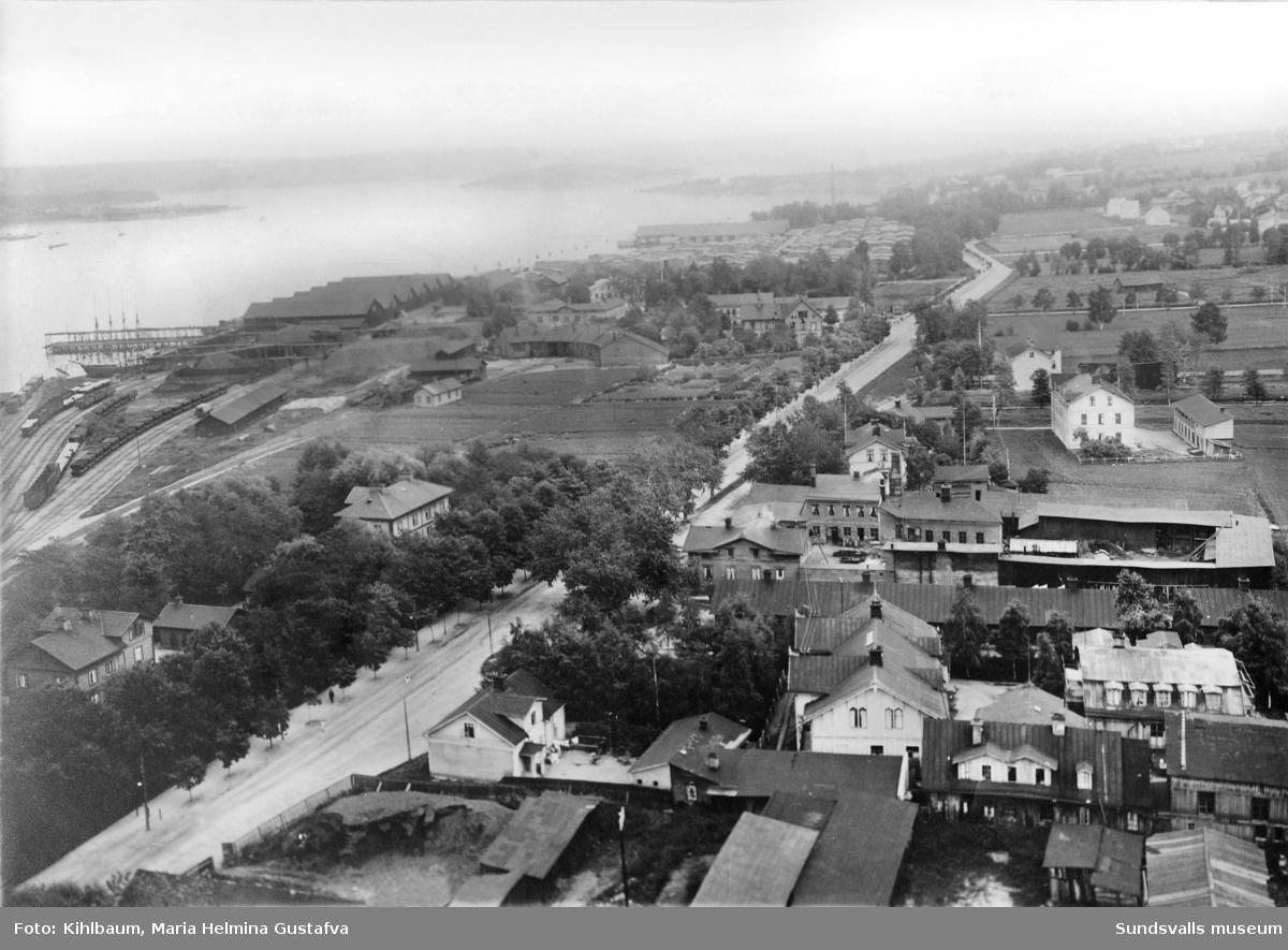 Stadsmon, Landsvägsallén, Mons sågverk. Foto taget från gasverkets skorsten.