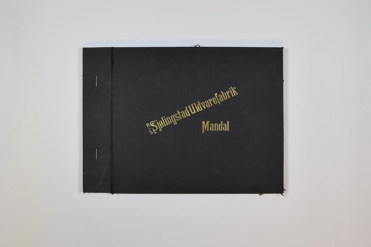 Rektangulær prøvebok med tre stoffprøver og harde permer. Permene er laget av hard kartong og er trukket med sort tynn tekstil. Boken inneholder middels tykke, tette stoff med striper. Kyperbinding. Stoffene har ulike farger, men mønsteret er det samme. Stoffene er merket med en firkantet papirlapp, festet til stoffet med metallstifter, hvor nummer er påført for hånd.   Stoff nr.: 2003/11, 2003/10, 2003/14.