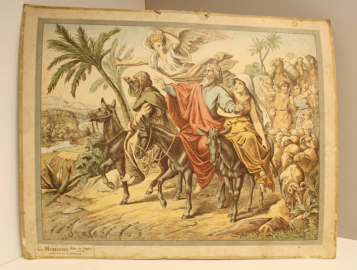 Rektangulær plakat. Menneskemengde. Esler, sauer og kameler. En engel. Moses ankommer det forgjette land.