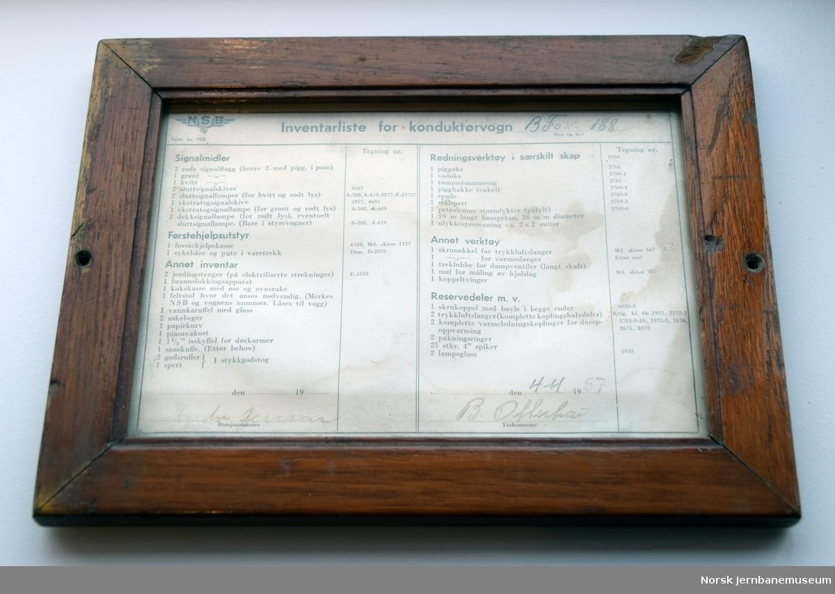 """Oppslag fra personvogn : """"Inventarliste for konduktørvogn BFo2c 188"""", utfylt 04.04.1957"""
