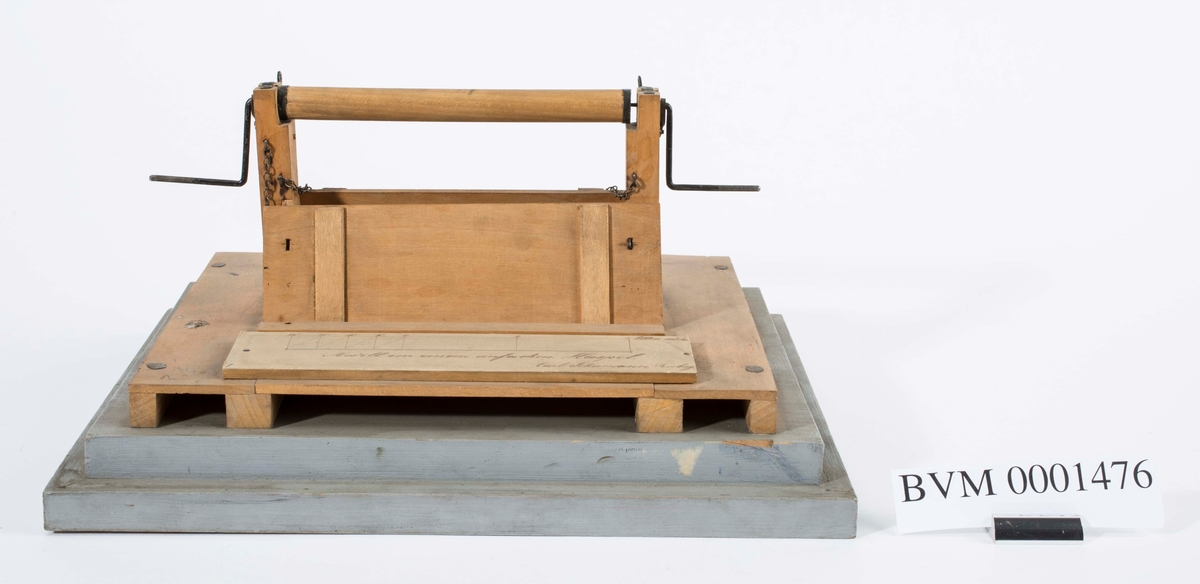 Modell av håndhaspel Trolig innkjøpt fra Freiberg