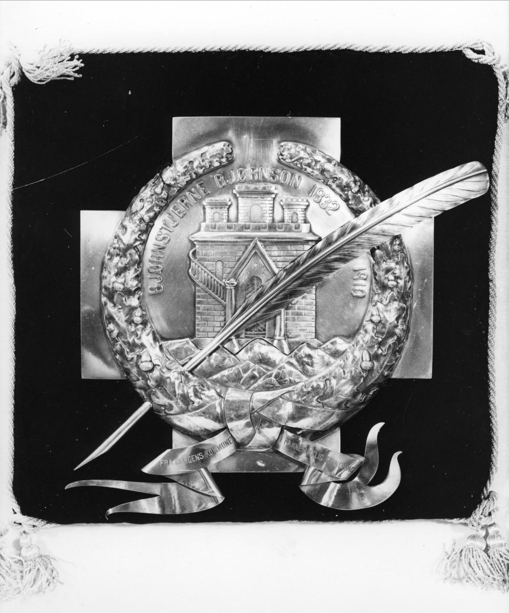Krans i massivt sølv med eikeløvgreiner sammenbundet med en sløyfe. Kransen ligger på et bredt likearmet kors med Bergens byvåpen; borgen og de syv fjell under. Over en skråstilt fjærpenn. Kransen er sydd ned på en svart fløyelspute kantet med snorer og dusker i hjørnene.
