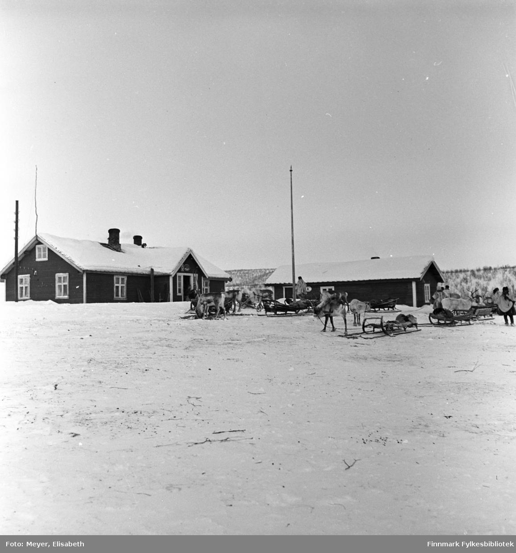 Statens fjellstue, Suolovuopmi i Maze,  fotografert ved påsketider 1940. Suolovuopmi fjellstue ble etablert i 1843 og var den første som ble etablert i Finnmark. Etterspørselen etter overnattingssted i indre Finnmark kom da post og fogd skulle ut å reise. Fjellposten, som begynte i 1799 gikk fra Hammerfest til Haparanda om vinteren. Suolovuopmi Fjellstue ble brent under krigen i 1944 og ble så gjenoppbygd etter krigen - og er fortsatt i drift.