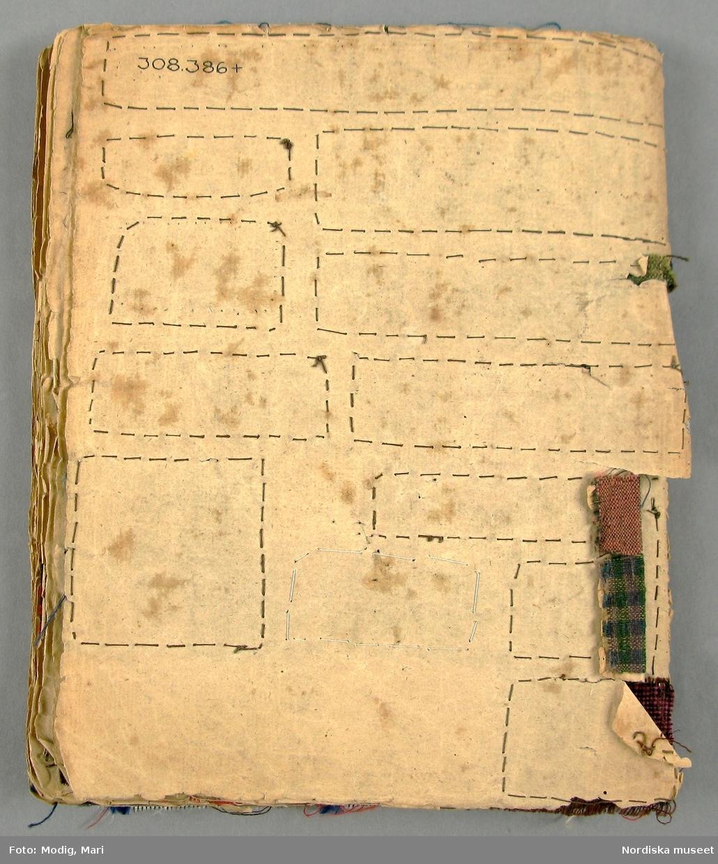 """Provbok utan pärmar,  av lumppapper hopsydd i ryggen. På utsidan skrivet med bläck:"""" Prof-Lapps-bok tillhörig Marie Torin 1842"""". Innehåller 375 tygprover, varav 76 st i helsiden; enfärgade tafter, randiga samt mönstervävda i enfärgat och jacquardmönstrat. 12 halvsidentyger troligen hemvävda, 7 i yllemuslin med tryckta blommönster, 1 hemvävt tunt ylletyg med handtryckt mönster, 6 enfärgade yllemusliner, 8 tryckta bomullstyger, 2 vita linnegardintyger med invävt mönster av den typ som tillverkades i massor i England/Skottland. 1 s.k. sticktyg i vitt halvlinnne, 1 randigt helvitt linne, 2 prover på bomullssatin antagligen bolstervarstyger. Även ett par randiga möbeltyger i korskypert. Den övervägande delen är rutiga och randiga bomullstyger.På en sida finns småmönstrade mångskaftade bomullstyger i ljusa färger av den typ som var moderna på 1820-talet. Alla proverna noggrannt fastsydda runtom. Tillhört givarens mormor Anna Maria Torin f. 1828 i Skara, dotter till domprosten Jonas Torin och Hedvig Catharina Knös. Gift 1851 med lektorn, sedera professorn Nils Edvard Forsell, föreståndare för Veterinärinrättningen i Skara. Hon dog 1866. När hon gjorde iordning boken var hon alltså 14 år gammal. Tygerna bör vara sådant som hon samlat på sig från flera håll, kanske från modern och andra släktingar, en del förefaller att vara från 1820-30-talet. Anm. Pappret skört och hårt slitet i kanterna. /Berit Eldvik 2011-03-02"""