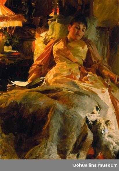 Madame Clara Rikoff; bankirhustru, Paris. Ljusstudie utförd i Paris av Anders Zorn år 1890