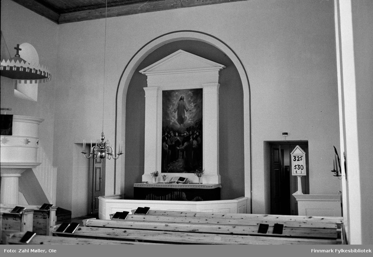 Utsjok Kirke, interiør.  Utsjok-tur, Finland. Fotografert i august 1969.