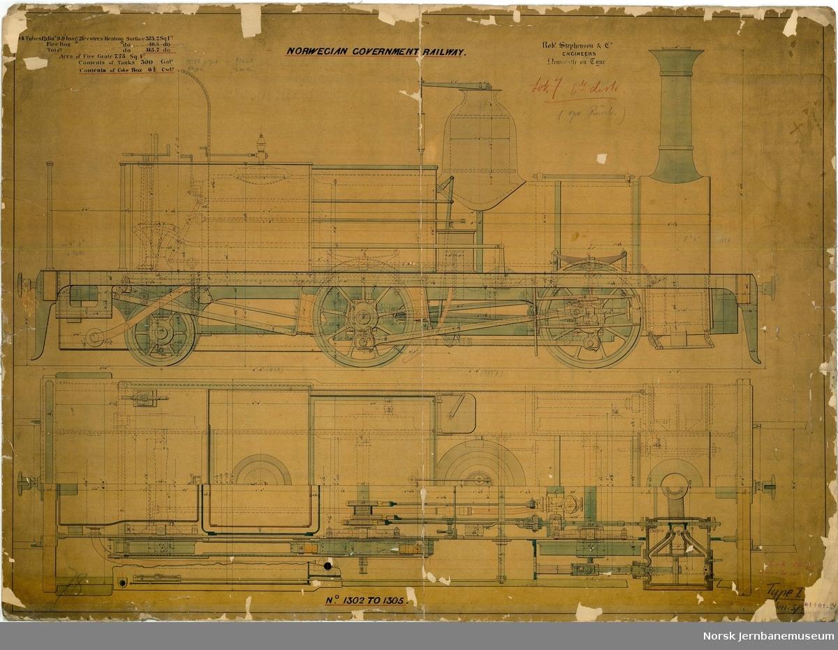 NSB damplok type I, smalt spor Rob. Stephenson - Norwegian Government Railway. Nos 1302 to 1305