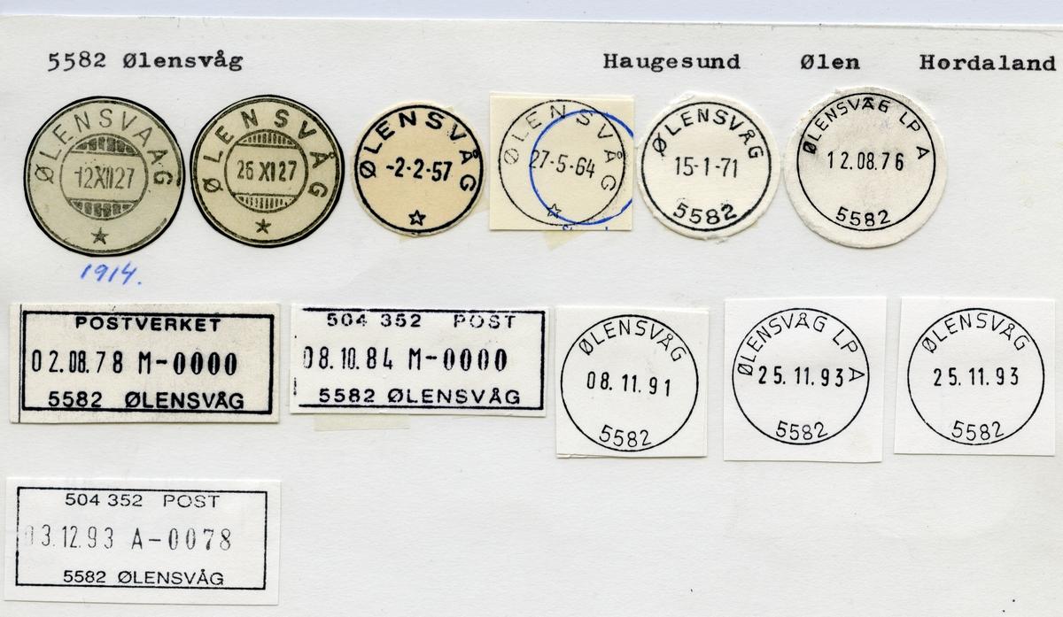 Stempelkatalog  5582 Ølensvåg, Ølen kommune, Hordaland