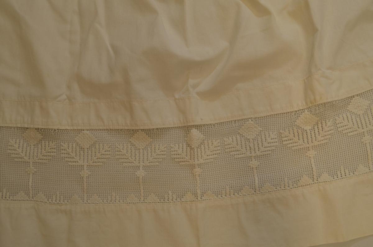 Forkle i kvitt bomulltøy med gjennombrutt bord nederst. Rynka i livet og med linning og band i eit stykke, knapp og knappehol i enden.