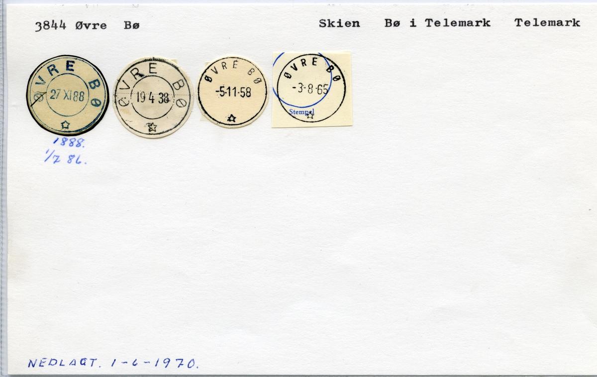 Stempelkatalog  3844 Øvre Bø, Bø i Telemark kommune, Telemark