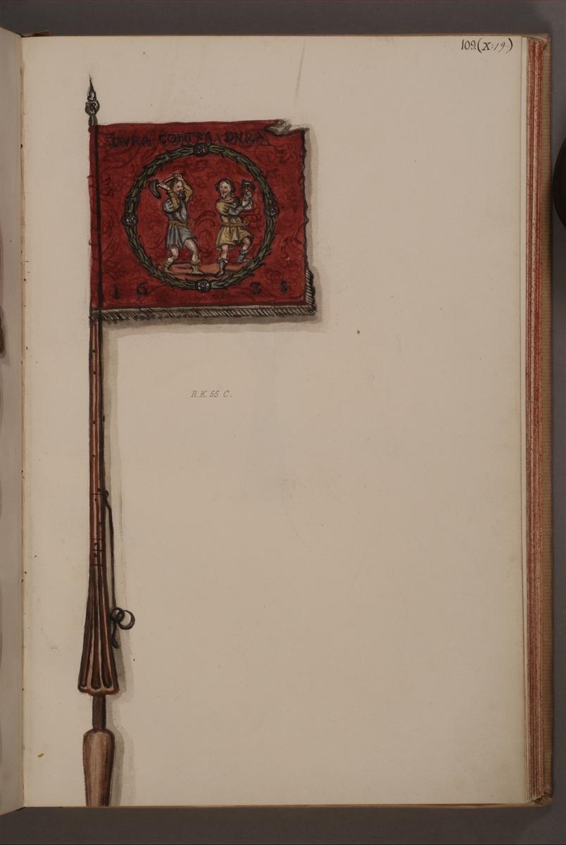 Avbildning i gouache föreställande fälttecken taget som trofé av svenska armén. Det avbildade standaret finns bevarat i Armémuseums samling, för mer information, se relaterade objekt.