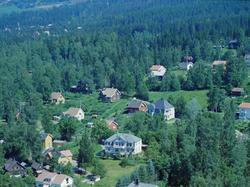 Flyfoto, Lillehammer, Søndre bydel, Trararo i front.