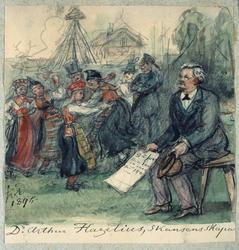 "Akvarell av Fritz von Dardel. ""Artur Hazelius, Skansens skap"