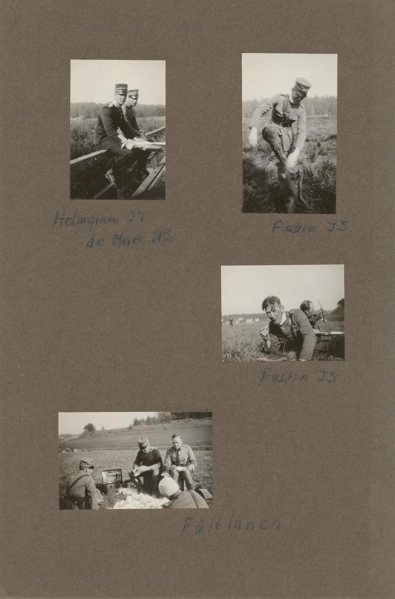 Fyra män äter lunch på en äng. Maten är dukad på en vit duk. Matkorg med bestick syns i bakgrunden.