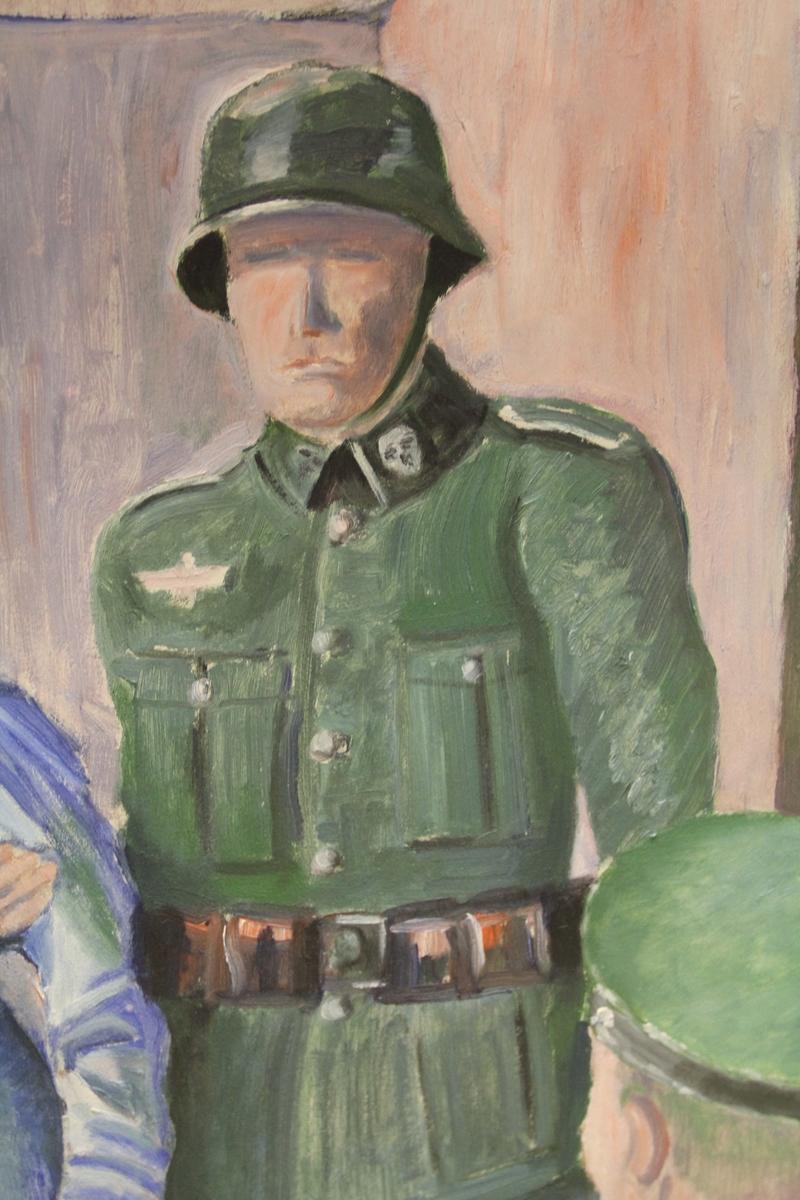 4 menn i tyske uniformer, en fange står mellom to av dem
