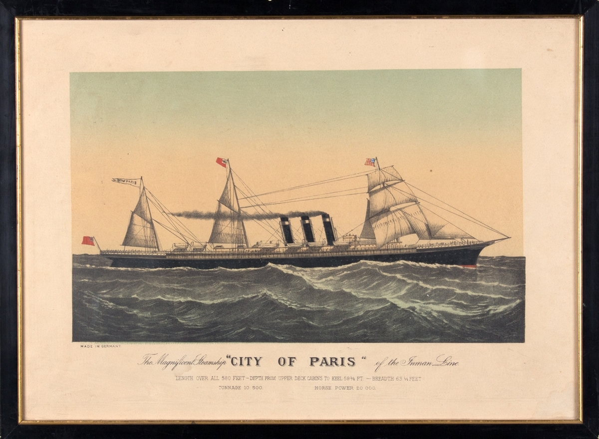 DS CITY OF PARIS med full seilføring og for full damp. På åpen sjø. Fører amerikansk flagg i framre mast og rederiflagg.