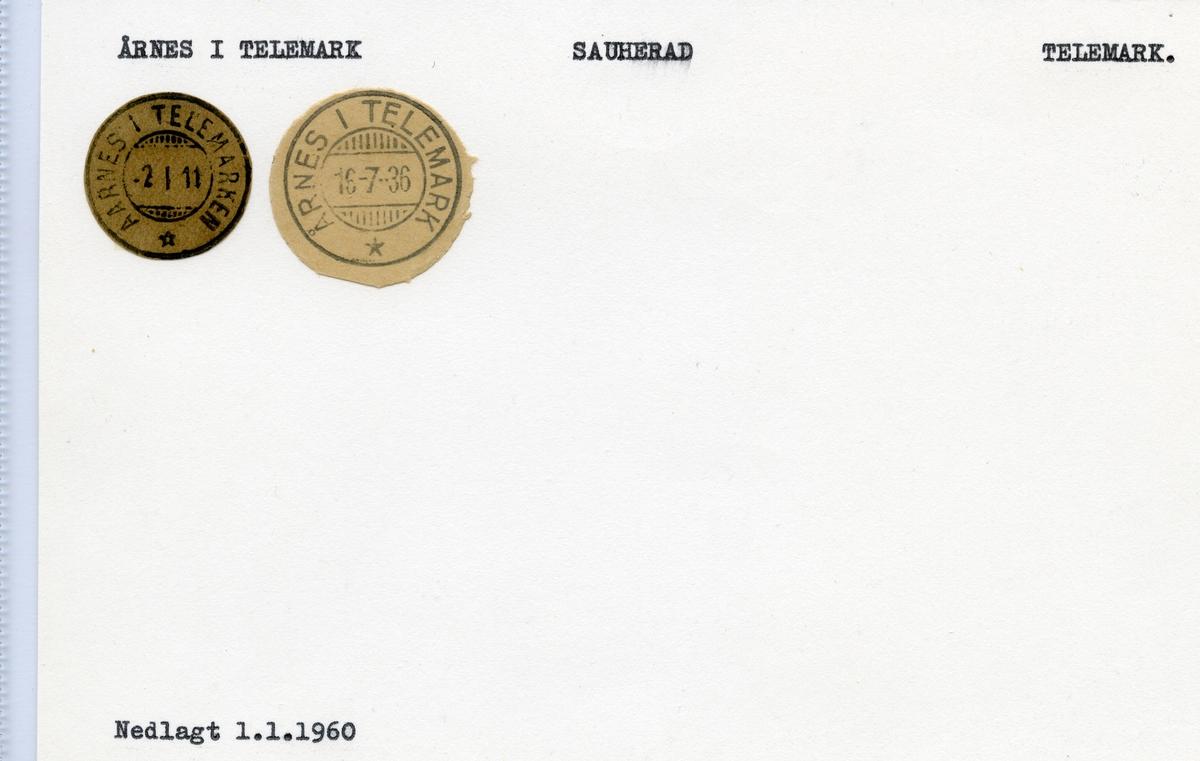 Årnes i Telemark (Aarnes i Telemarken), Sauherad, Telemark