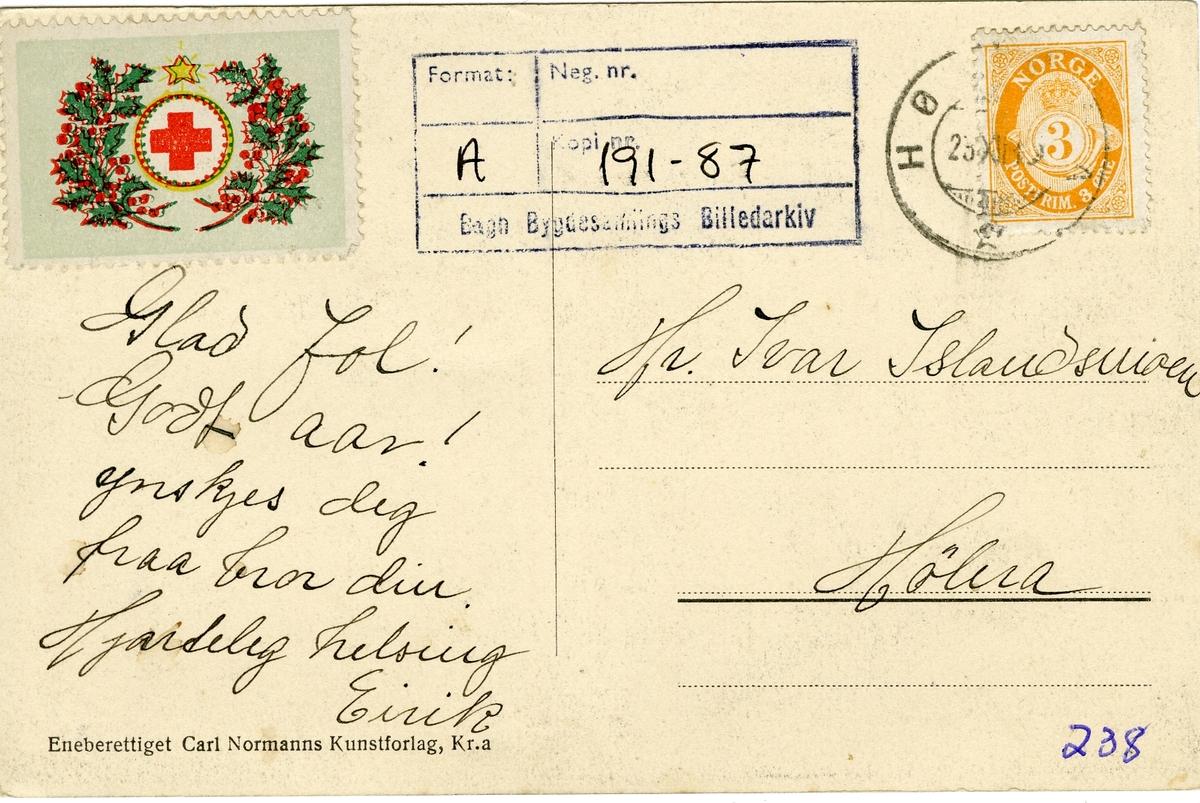 Postort med utsyn over Hølera, Sør-Aurdal.