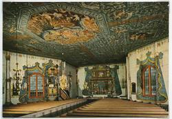 Vykort med interiör från Frödinge kyrka. Takmålningar utför
