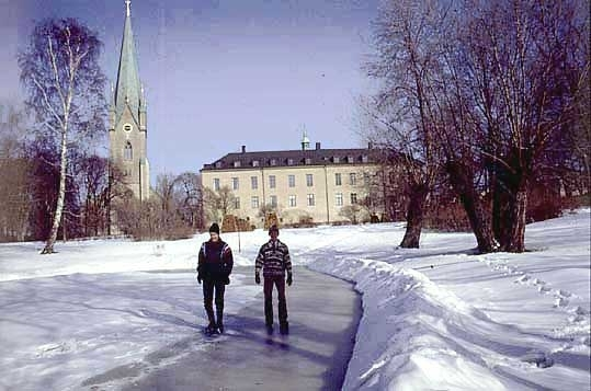 Biskop Martin Lönnebo och Landshövding Göte Svensson på hal is i slottsparken.Slottet uppfördes på 1500-talet i medeltida stil. Under medeltiden och fram till reformationen bodde biskoparna på slottet, efter en dekadansperiod rustades slottet och landshövdingarna har bebott det sedan 1785. Upprustningen avslutades 1888. Åren 1932-33 skalades 1880-talets dekorationer bort och slottet återgavs en mer återhållsam karaktär.