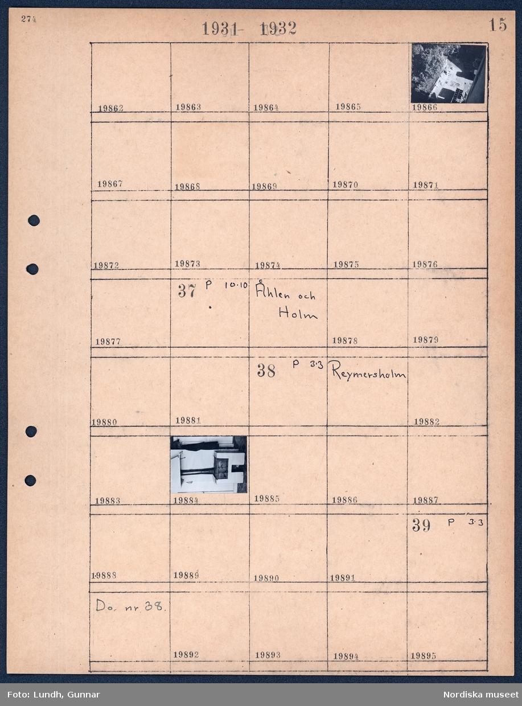 Motiv: Utsikt från Lindbergs våning Bastugatan; Vy över innergård sett från ovan.  Motiv: Åhlen och Holm; Ej kopierat.  Motiv: Reymersholm; Interiörbild av vedspis.  Motiv: Reymersholm; Ej kopierat.