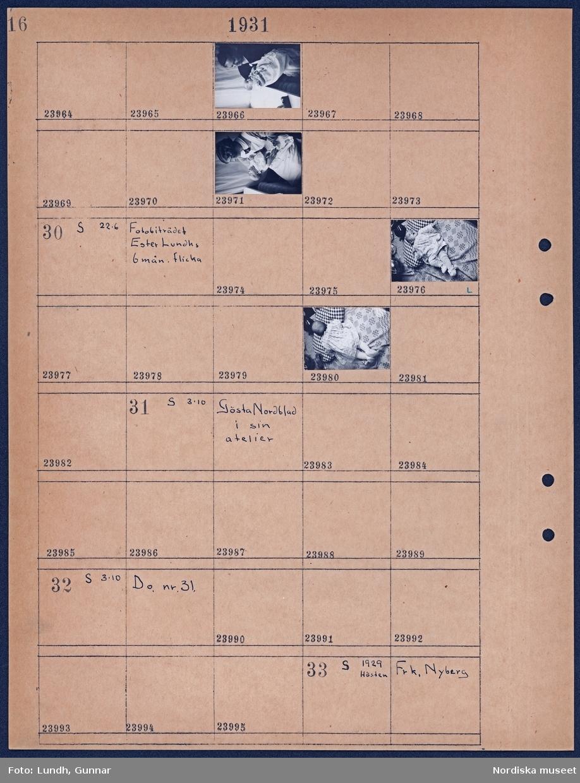Motiv: Gunnar Olsons pojke Kaj 6 veckor, modern, fadern, farmor, barnflickan; Porträtt av kvinna som håller ett litet barn.  Motiv: Fotobiträdet Ester Lunds 6 mån. flicka; Porträtt av ett litet barn.  Motiv: Gösta Nordblad i sin atelier; Ej kopierat.  Motiv: Gösta Nordblad i sin atelier; Ej kopierat.