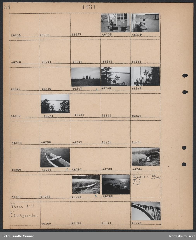 Motiv: Dalarö; En kvinna sitter på en bänk, landskapsvy med vatten, en man sitter vid en båt.  Motiv: Resa till Saltsjöbaden; Detalj av en bro.