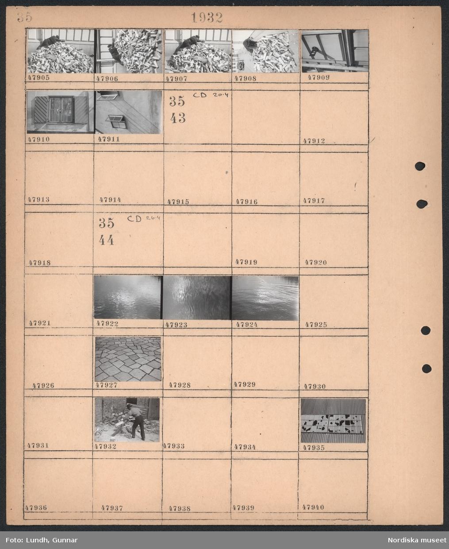 Motiv: (ingen anteckning) ; En man arbetar på en vedhög, detaljer av husfasad.  Motiv: (ingen anteckning) ; Detalj av vattenyta, detalj av stenläggning, en man sågar ved, detalj av husfasad med sönderslagna fönsterrutor.