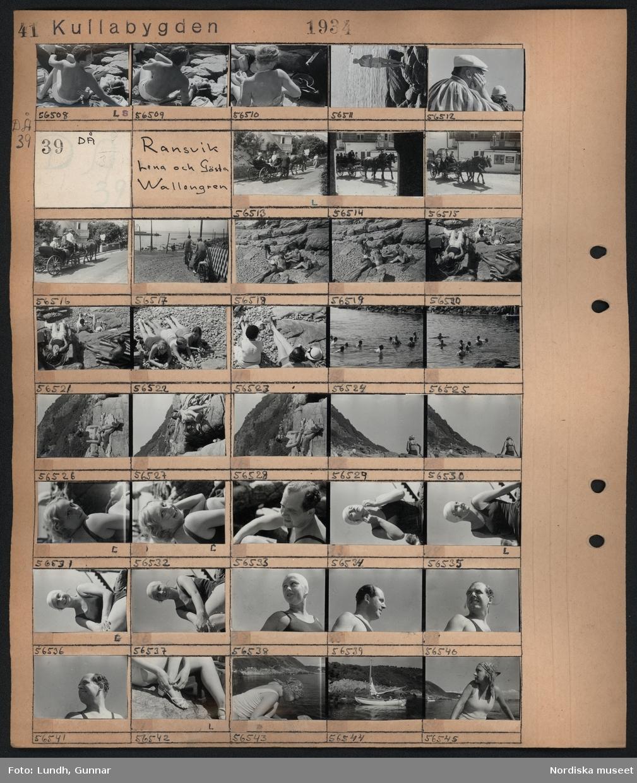 Motiv: Kullabygden, Ransvik, Mölle; Två kvinnor ligger på klippor, en kvinna står på en klippa vid havet, en man och en kvinna.  Motiv: Kullabygden, Ransvik, Lena och Gösta Wallengren; Människor åker i hästdragna vagnar, männsikor solar och badar på en badplats, porträtt av kvinna, porträtt av man, en segelbåt på vattnet.