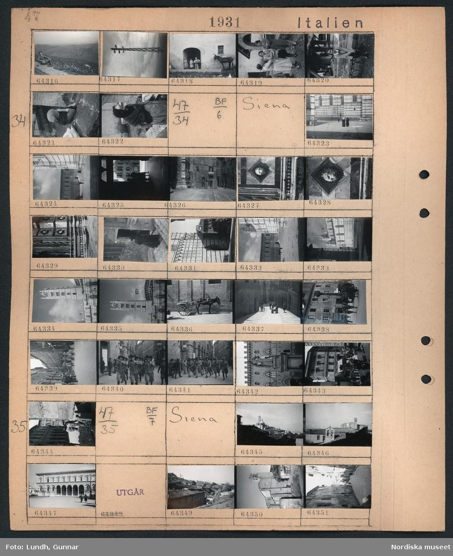 Motiv: Italien, Viterbo; En man sitter vid vägkanten och röker med ett bergigt landskap i bakgrunden, en elstolpe, en kvinna och två barn står i en dörröppning med en åstna vid väggen, porträtt av tre kvinnor, porträtt av en kvinna.   Motiv: Italien, Siena; Gatuvy med fotgängare, en åsna med en kärra, en blåsorkester i uniform marscherar och spelar, män i uniform marscherar på en gata, en staty på ett torg.  Motiv: Italien, Siena; Stadsvy med hustak, stadsvy med fotgängare.