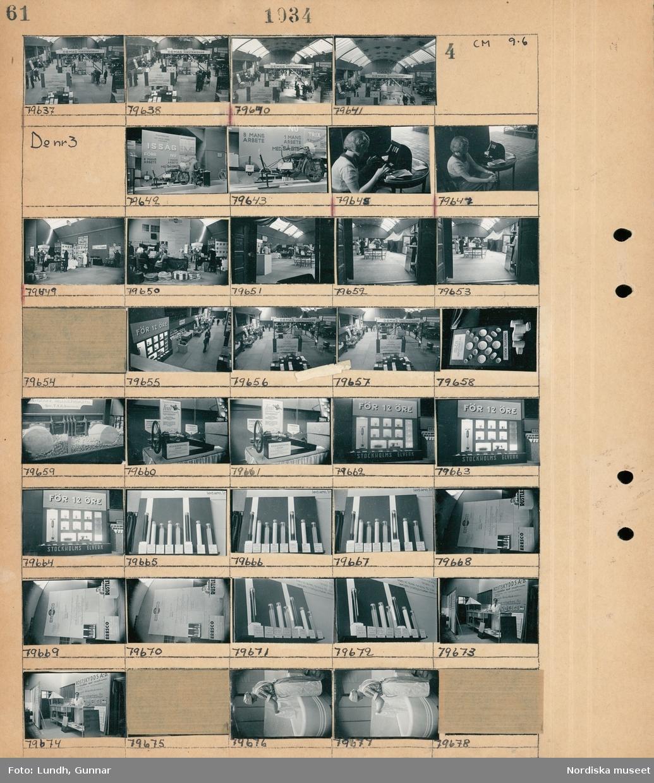 """Motiv: """"Tekniska Nyheter"""" utställning i Atlashallen; Vy över utställningshall med montrar och besökare och en skylt """"Demag Hängtraverser"""".  Motiv: """"Tekniska Nyheter"""" utställning i Atlashallen; Utställningsmonter med en motorcykel med en sågklinga istället för bakhjul med text """"Issåg"""", en kvinna sitter vid ett bord med biljettfösäljning, vy över utställningshall med montrar, monter med papperstallrikar och skylt """"Allea Industribolag Svensk tillverkning"""", monter med skylt """"Rostskydds A.-B."""", en kvinna tvättar i ett kar."""