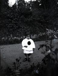 Ett barn som håller i en blomma på Tuna gård.