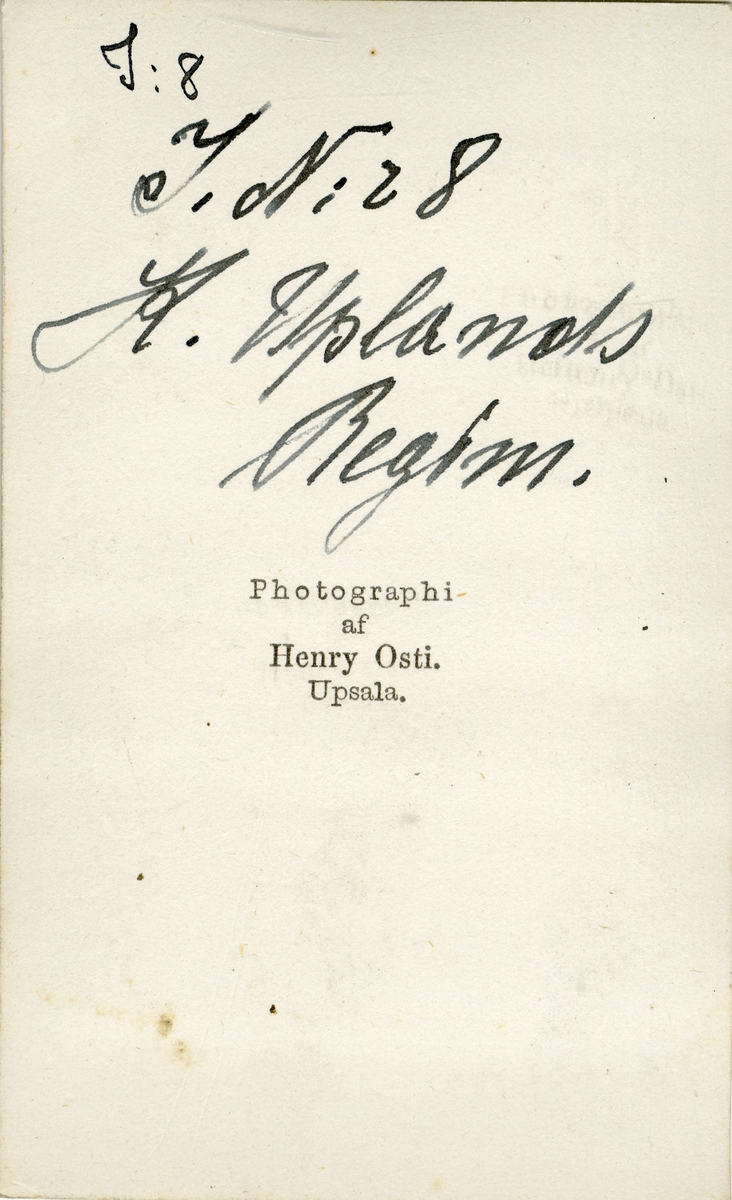 Porträtt av okänd officer vid Upplands regemente I 8.