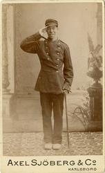 Porträtt av okänd soldat vid Volontärskolan.