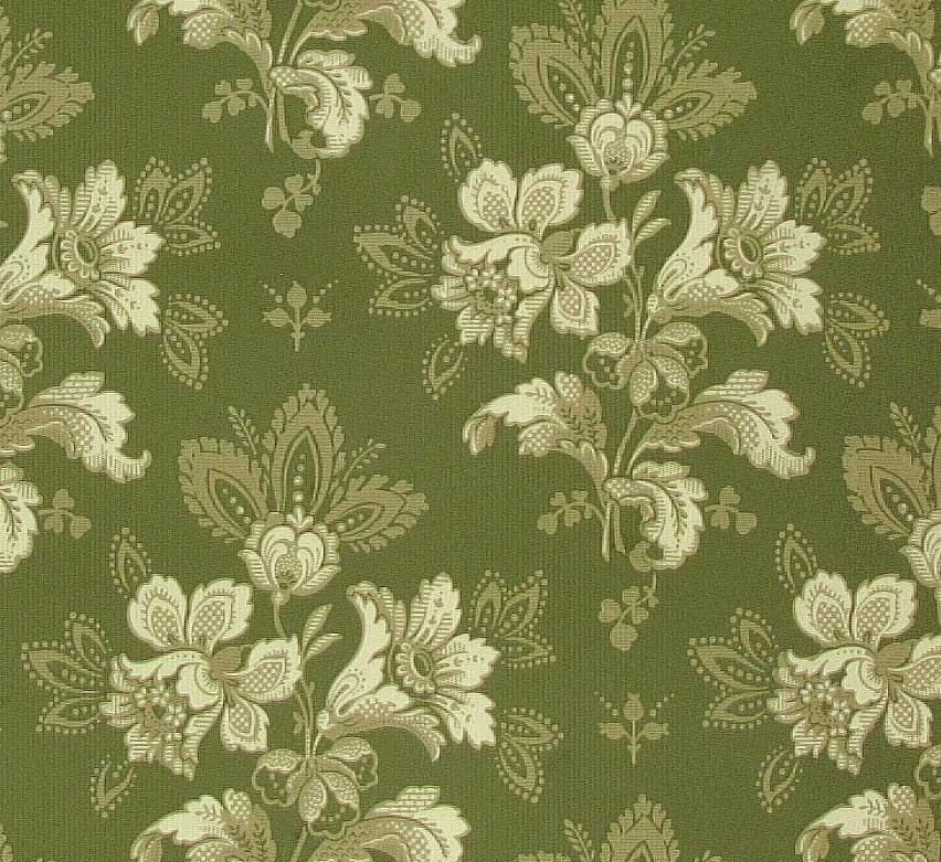 Fantasifulla blombuketter dekorerade med små geometriska ornament. Mönstret upprepas   diagonalt. Tryck i cremevitt på en olivgrön bakgrund. Ljusgrönt genomfärgat papper,    Tillägg historik: Tapet upphittad på vinden på Brunsta gård i Bettna. Gården är från 1850-talet.
