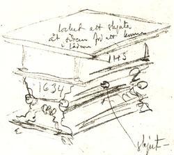 Bord (skiss) av ek, med skjutbar skiva med låda under samt u
