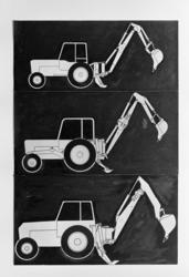 Hymas A/S. Traktorgravemaskin. Tegning av Hymas 31, Hymas 41