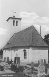 """""""Rölanda kyrka"""" enligt text på vykortets baksida"""